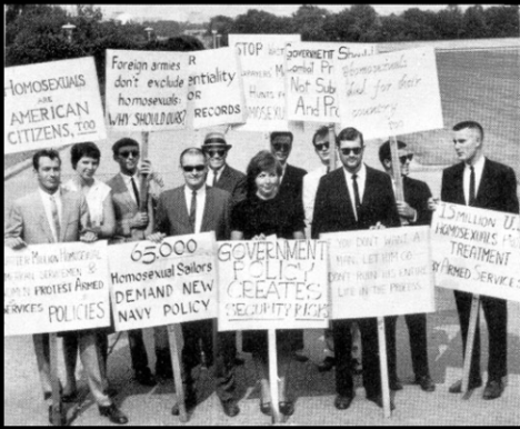 Picketing the White House in 1965; not a leatherman or bikey dyke in sight.